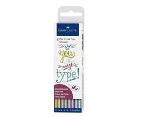 Faber-Castell Tuschestift PITT artist pens, metallic Farben, Handlettering Set, 4er Etui