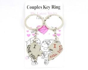 Schlüsselanhänger für Paare, 'I love you', 35 x 45 mm, 1 Paar